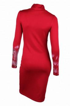 Платье - футляр красное с воротником стойка и каплей