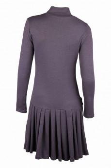 Теплое платье антрацит с заниженной талией и юбкой в складку