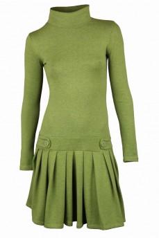 Платье зеленое с заниженной талией и юбкой в складку