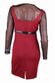 Платье красное с рисунком гусиные лапки