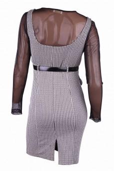 Платье светло-серое с узором гусиные лапки