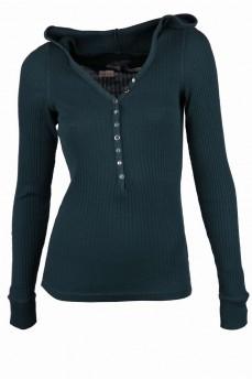 Пуловер темно-зеленый с капюшоном