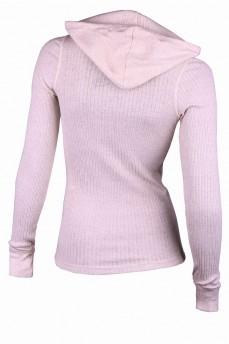 Пуловер кремовый с капюшоном и V-образным вырезом