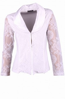 Блуза белая с атласным воротником и кружевом