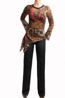 Блуза-туника из набивного гипюра c абстрактным рисунком