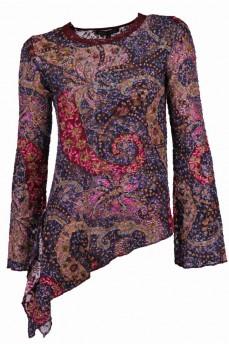 Блуза-туника асимметричная из набивного гипюра