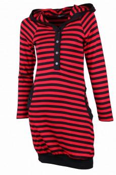 Платье -туника красное с капюшоном в полоску