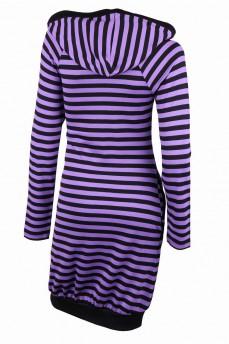 Платье-блузон сиреневое с капюшоном в полоску