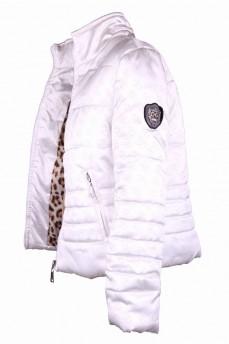 Куртка белая стеганая с воротником стойка и скрытым капюшоном