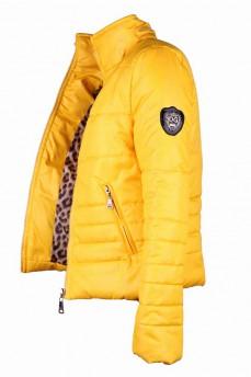 Куртка желтая стеганая из атласа с воротником стойка