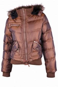 Бомбер куртка с меховым капюшоном на утеплителе экопух