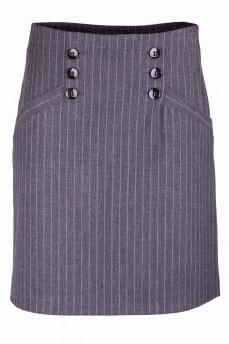 Юбка деловая серого цвета в полоску