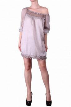Туника -блуза с макраме серая из маркизета