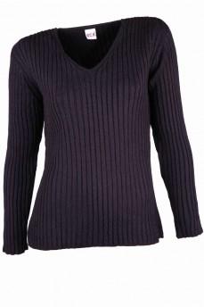 Пуловер черный из тонкой элитной шерсти