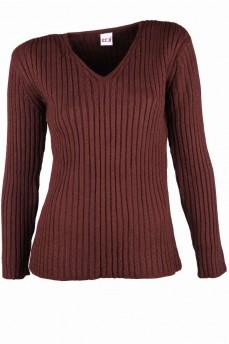 Пуловер коричневый из тонкой шерсти