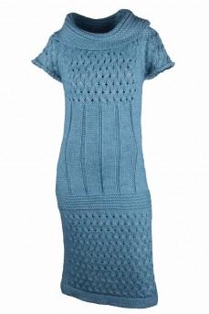 Платье бирюзовое шерстяное  ажурной вязки из шерсти