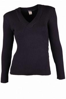 Пуловер с вырезом мыс черного цвета