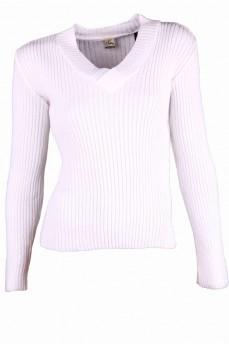 Пуловер белый с вырезом мыс и вязкой резинка