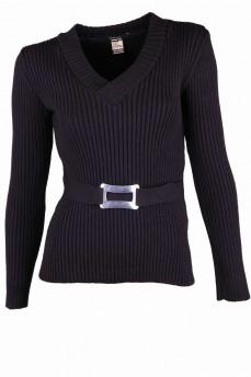Пуловер черный с вязкой резинка и  пряжкой