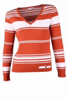 Пуловер терракотового цвета в полоску