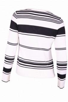 Пуловер белый в черную полоску с вырезом мыс