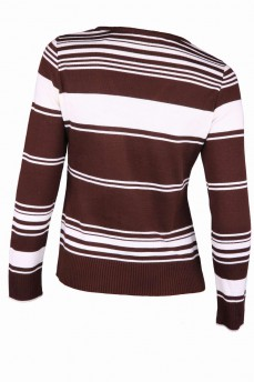 Пуловер коричневый в полоску с вырезом мыс