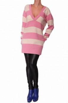 Пуловер -туника коралловый из шерсти с глубоким вырезом