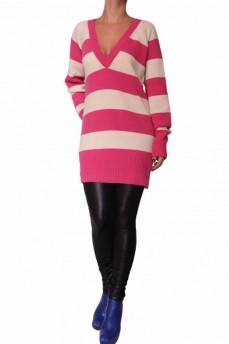 Пуловер -туника шерстяной малинового цвета