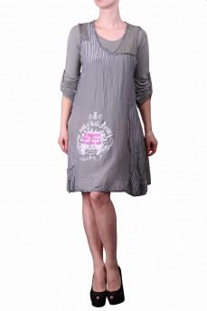 Платье двойка оливковое с кружевом