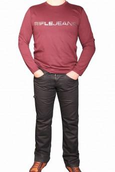 Футболка мужская с названием бренда цвета темной вишни