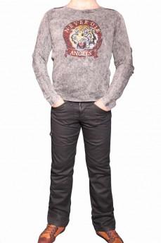 Джемпер деним светло-серый с накаткой и вышивкой