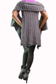 Кардиган светло-серый вязаный с накладными карманами