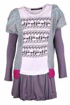 Платье из комбинированных цветных тканей