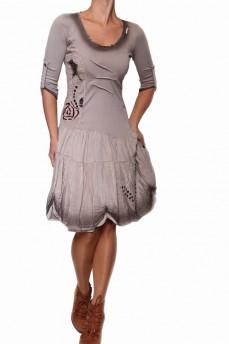 Платье светло-оливковое с подолом из натурального шелка