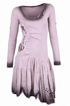 Платье дымчатого цвета из натурального шелка и хлопка