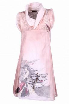 Платье с ажурной вязаной кокеткой и принтом стрекоза