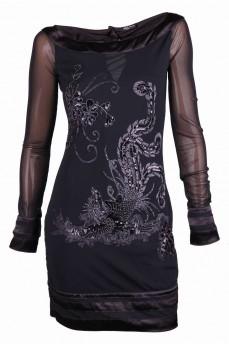 Платье с вырезом лодочка и ручной вышивкой с бисером