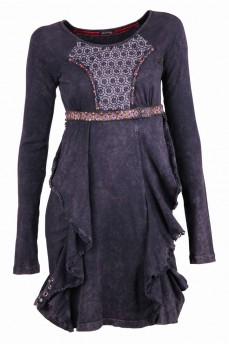 Платье фантазийного кроя из вареного катона с элементами из бисера