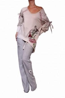 Туника-блузон сложного кроя фрак из комбинированных тканей