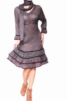 Платье романтическое с драпировкой по груди и шарфом из маркизета