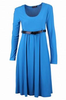 Платье голубое из тяжелого струящегося трикотажа