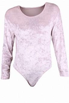 Боди бархатное бледно-розовое с круглым вырезом