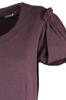Платье коричневое из тонкой шерсти с рукавом фонарик