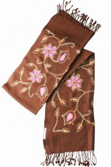 Палантин шарф коричневый с вышивкой 170х60см