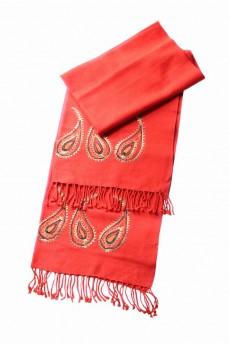 шарф палантин терракотовый с вышивкой 170х60см