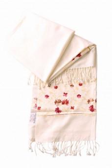 шарф палантин кремовый с мелким рисунком 170Х60см