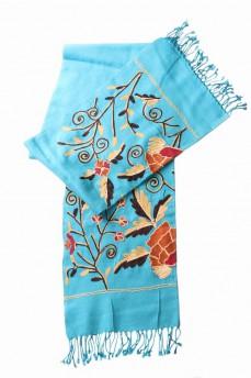 шарф палантин бирюзовый с крупной вышивкой 170х60см