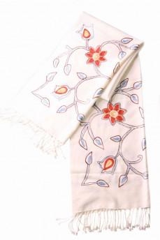 шарф  палантин белый крупный рисунок 170х60см