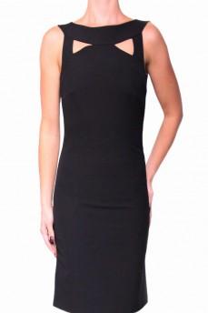 Платье черное с декоративной горловиной