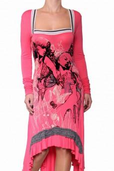 Платье розовое ассиметричное с принтом из велюрового напыления